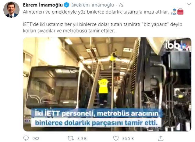İmamoğlu, 70 bin dolarlık metrobüs parçasını tamir eden İETT'nin 2 ustasına 3 maaş ikramiye verilmesi için talimat verdi