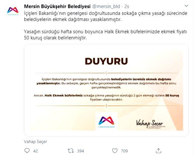 Mersin Büyükşehir Belediyesi 'bedava ekmek yasaklandı' dedi, valilikten jet yanıt geldi