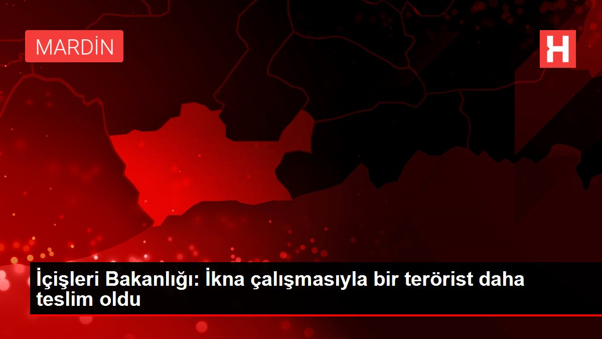 İçişleri Bakanlığı: İkna çalışmasıyla bir terörist daha teslim oldu