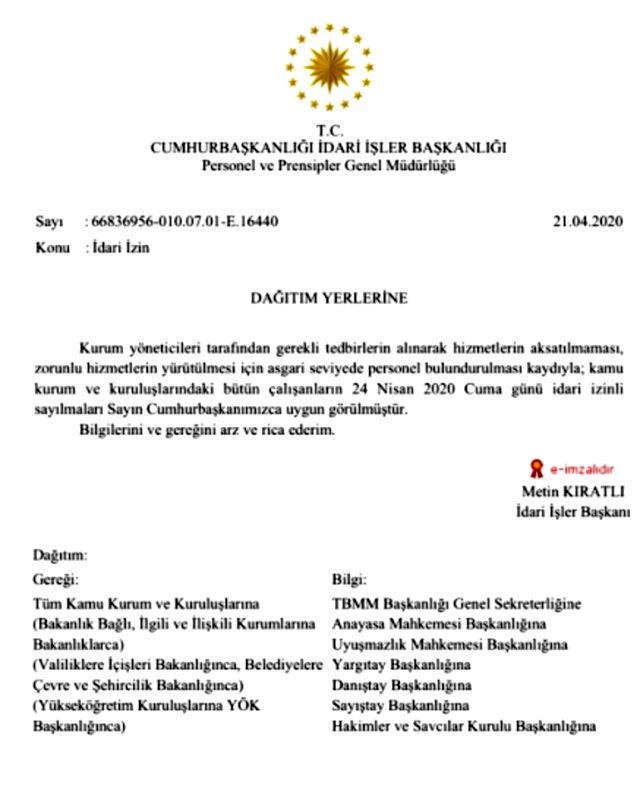 Son Dakika: 24 Nisan'da tüm kamu çalışanları izinli sayılacak