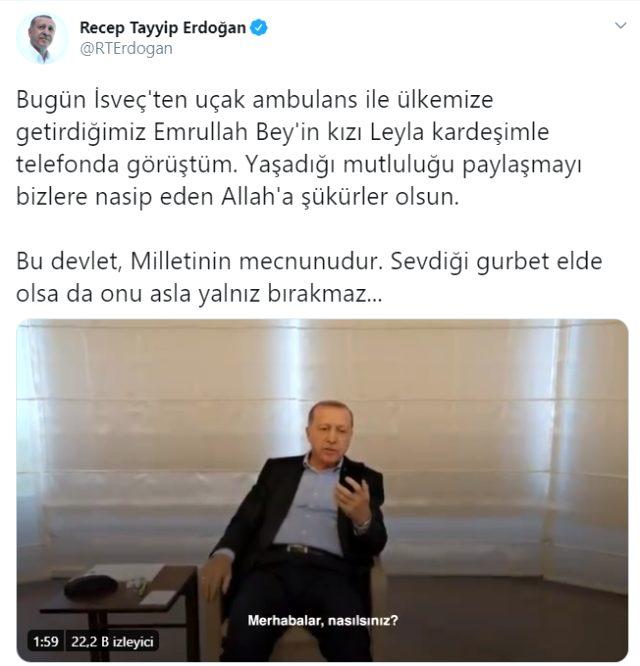 Cumhurbaşkanı Erdoğan, İsveç'ten getirilen Emrullah Gülüşken'in kızı Leyla ile telefonda görüştü