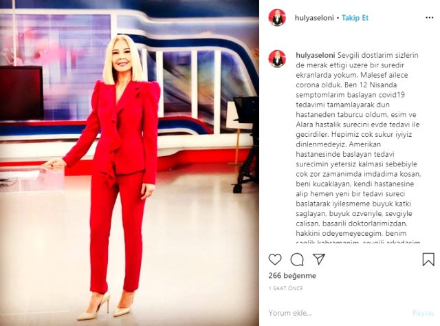 Kanal 7 haber spikeri Hülya Yürekli Seloni koronavirüse yakalandı