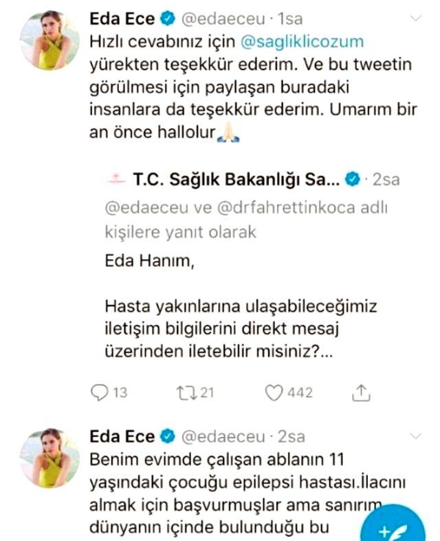 Sağlık Bakanlığı'ndan epilepsi hastası çocuk için yardım isteyen Eda Ece'ye jet yanıt