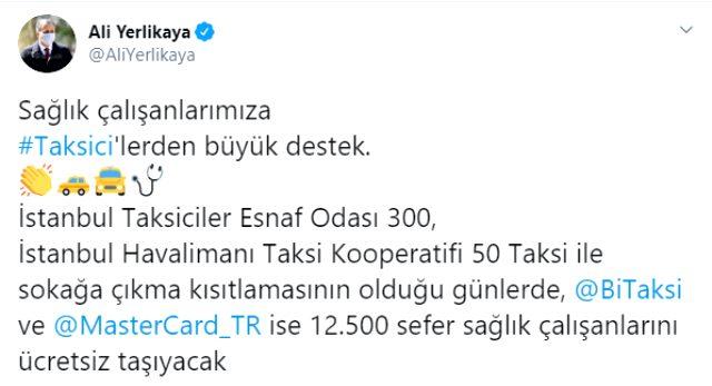 Son Dakika: İstanbul'da sokağa çıkma yasağında taksiler sağlık çalışanlarını ücretsiz taşıyacak