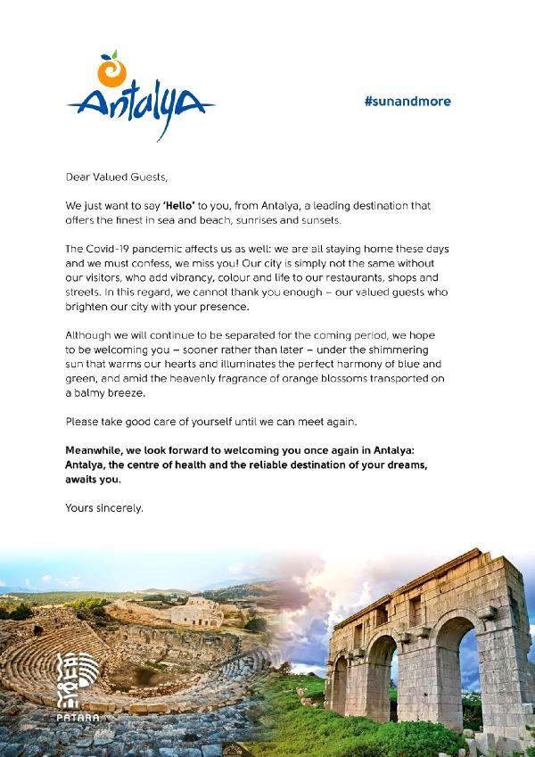 Antalya'dan, 23,5 milyon turiste 4 dilde mektup hazırlandı