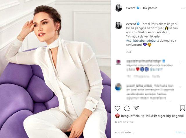 Instagram hesabından fotoğrafını paylaşan Fahriye Evcen'e beğeni yağdı