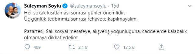 İçişleri Bakanı Süleyman Soylu, vatandaşları uyardı: Üç günlük tedbir sonrası rehavete kapılmayalım