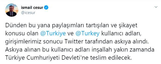 Twitter'da 'Turkiye' ve 'Turkey' kullanıcı adları Türkiye'nin olacak