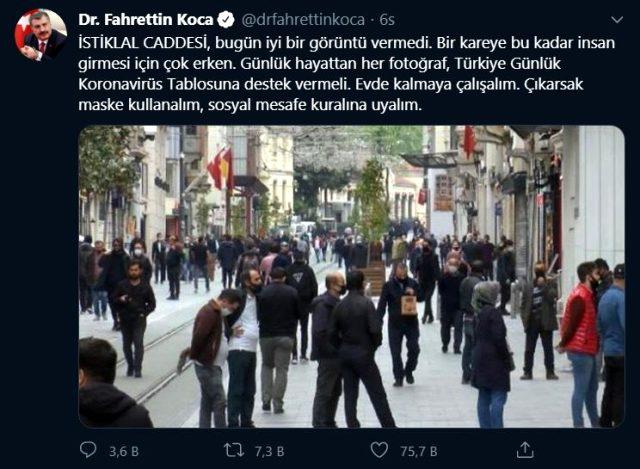 Sağlık Bakanı Fahrettin Koca, İstiklal Caddesi'ndeki kalabalığı eleştirdi: İyi bir görüntü vermedi