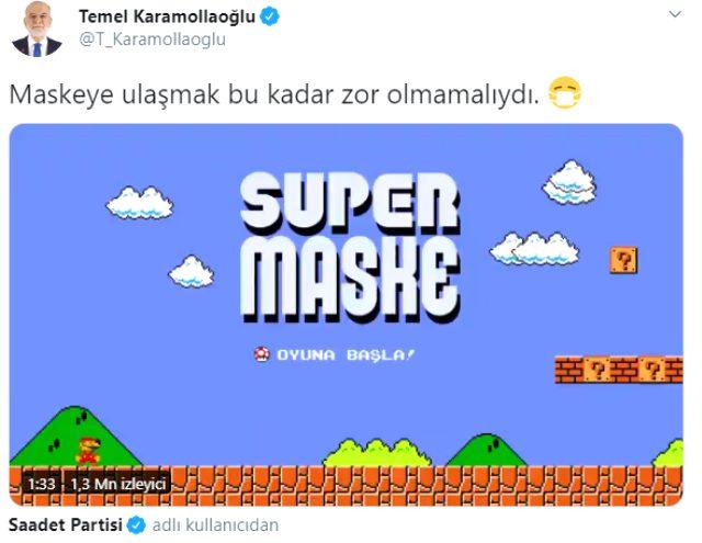Saadet Partisi, hükümetin maske dağıtım sürecini Süper Mario oyunuyla eleştirdi
