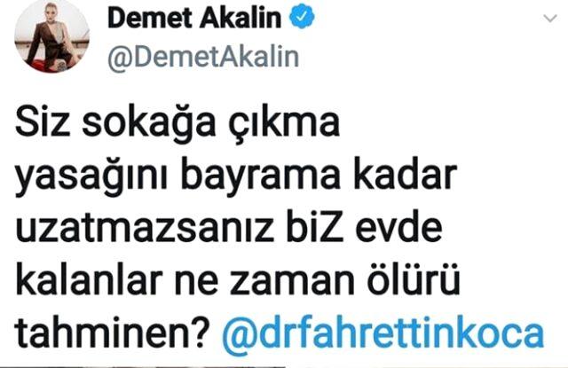 Demet Akalın, Fahrettin Koca'ya tepki gösterdiği paylaşımını sildi