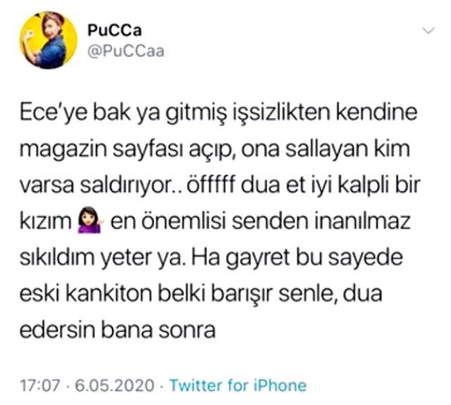 Yazar Pucca, Ece Erken'e öfke kustu: Hayatımda gördüğüm en boş ve salak kişisin