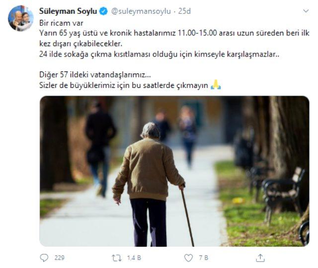 Bakan Soylu'dan sokağa çıkma yasağı olmayan 57 ildeki vatandaşlara çağrı