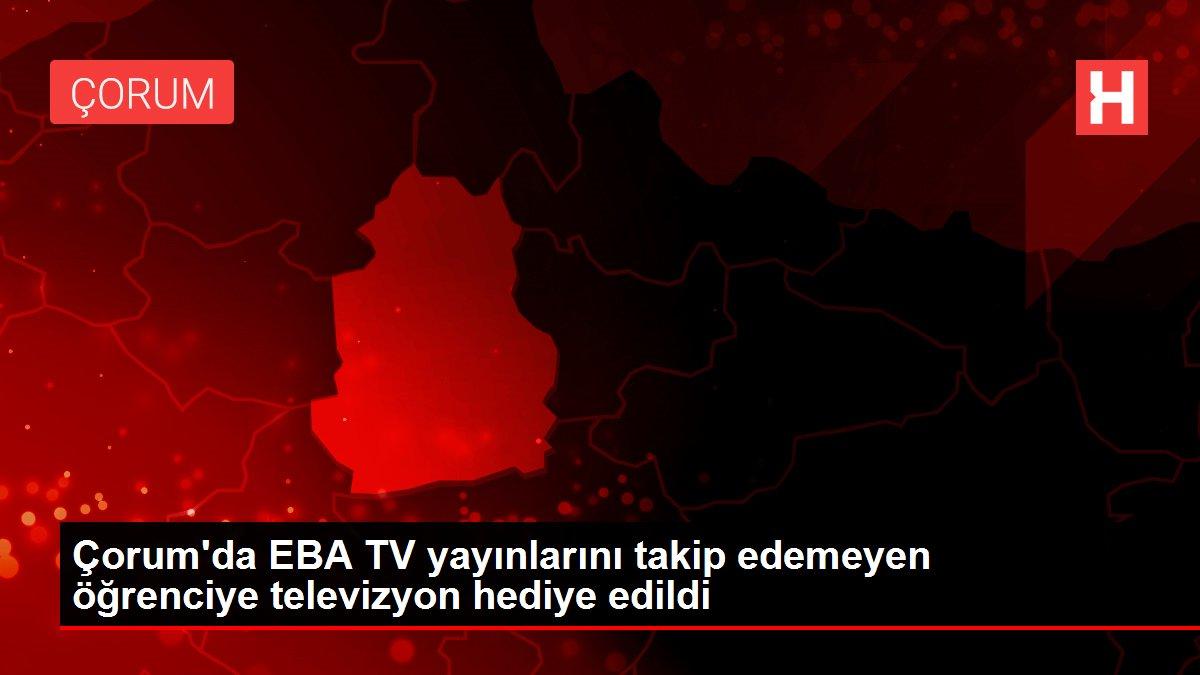 Çorum'da EBA TV yayınlarını takip edemeyen öğrenciye televizyon hediye edildi