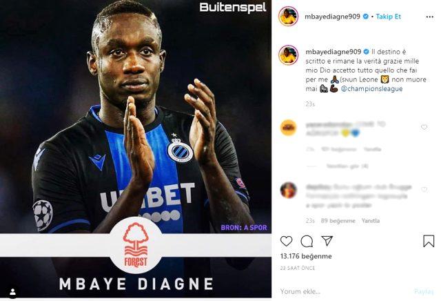 Mbaye Diagne, İngiliz kulübü Nottingham Forest ile ilgili bir paylaşımda bulundu
