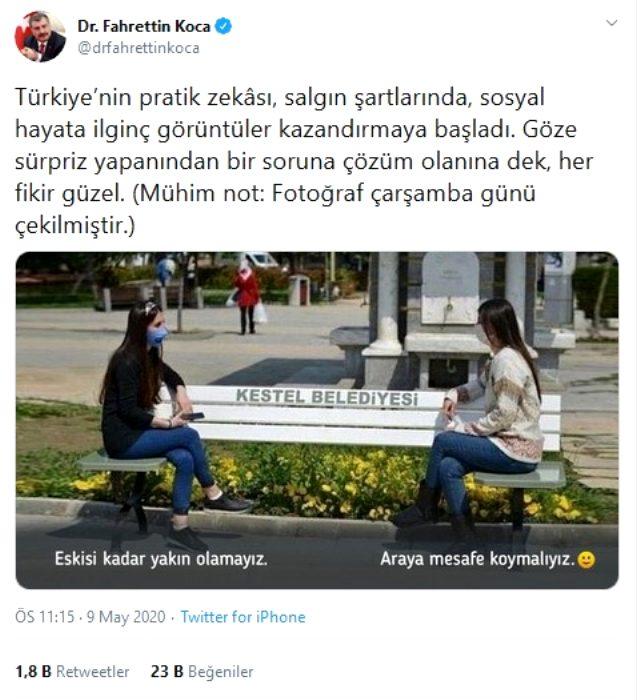 Sağlık Bakanı Koca'dan 'sosyal mesafeli bank' paylaşımı: Fikir güzel