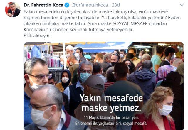 Sağlık Bakanı Koca, fotoğraf paylaşıp uyardı: Virüs maskeye rağmen bulaşabilir
