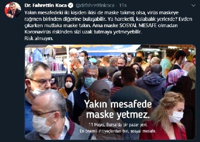 Bakan Koca'nın 'Bursa' fotoğrafıyla yaptığı uyarı, kentte karşılık bulmadı
