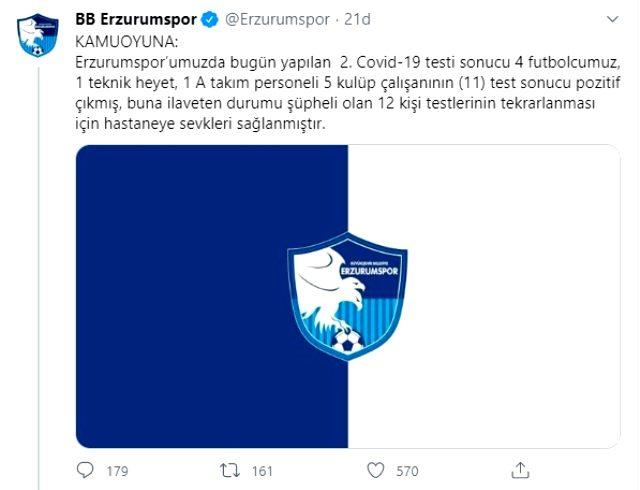Erzurumspor'da 4'ü futbolcu 11 kişi koronavirüs testi pozitif çıktı