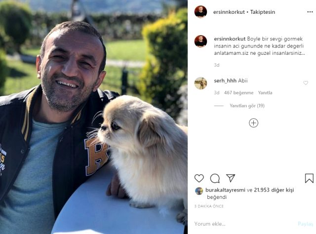 Köpeğinin öldüğünü öğrenen Ersin Korkut'tan ilk paylaşım