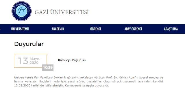 Son Dakika: Gazi Üniversitesi Fen Fakültesi Dekanı Prof. Dr. Orhan Acar, görevinden istifa etti
