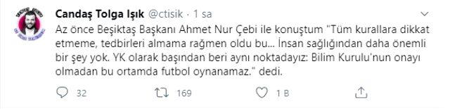 Koronavürüse yakalanan Beşiktaş Başkanı Çebi: Bu ortamda futbol oynanamaz