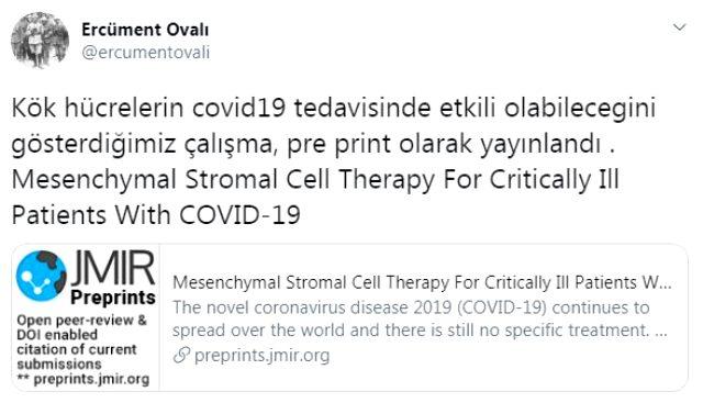 Ercüment Ovalı'dan korona tedavisi için müjdeli haber: 7 hastanın 6'sında enfeksiyon şüphesi azaldı