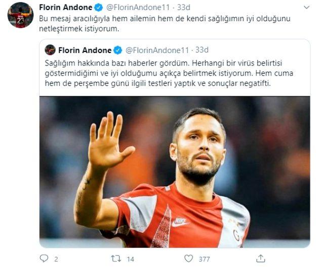 Galatasaraylı Florin Andone sosyal medyadan, koronavirüs testinin negatif çıktığını paylaştı