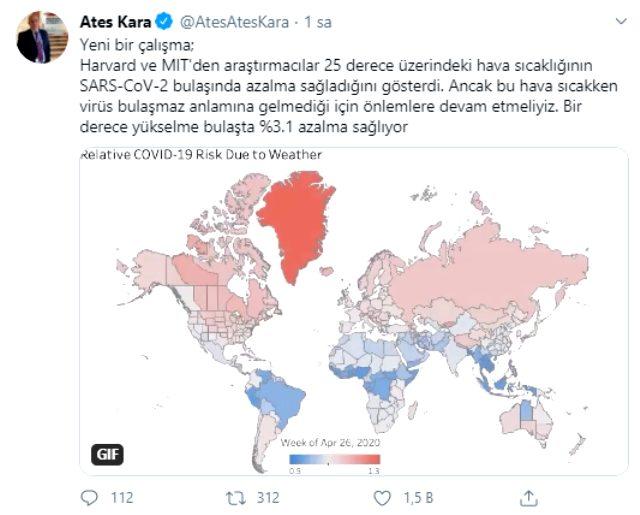 Bilim Kurulu Üyesi Prof. Dr. Ateş Kara: 25 derece üzerindeki hava sıcaklığı koronavirüsün bulaşma hızını azaltıyor