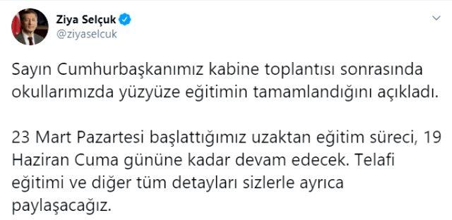 Milli Eğitim Bakanı Selçuk'tan 'uzaktan eğitim süreci' açıklaması: