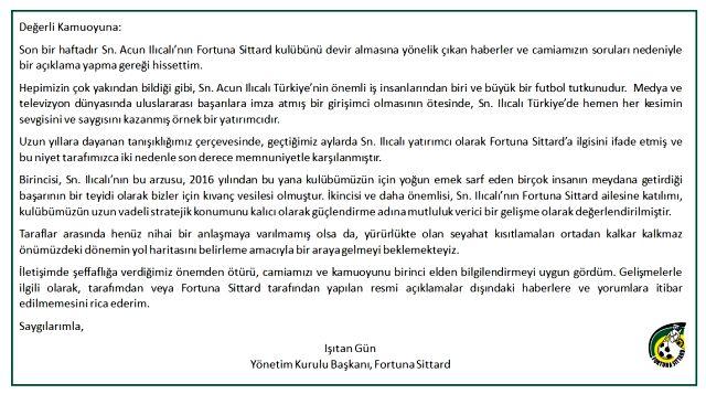 Fortuna Sittard Başkanı Işıtan Gün, Acun Ilıcalı'nın kulübü satın almak istediğini doğruladı
