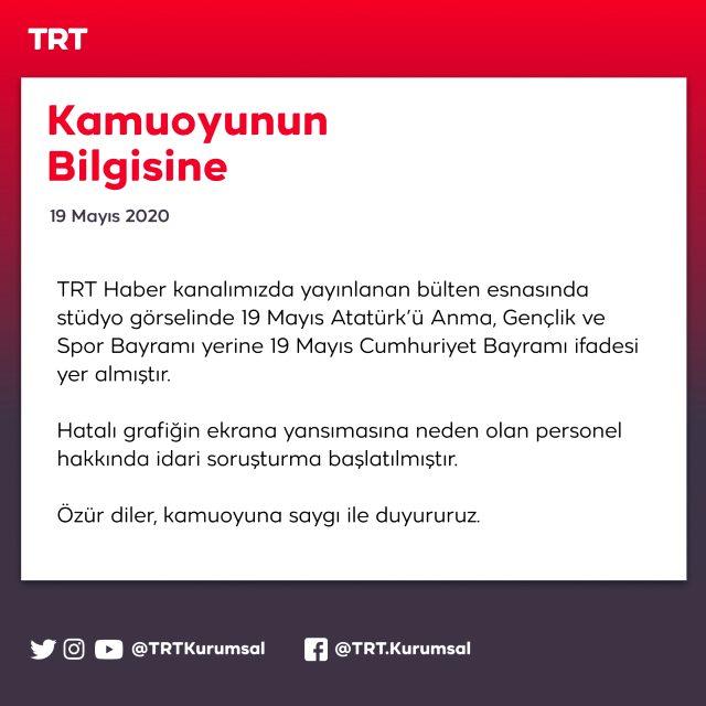 TRT'nin '19 Mayıs Cumhuriyet Bayramı' hatası sosyal medyada tepki çekti