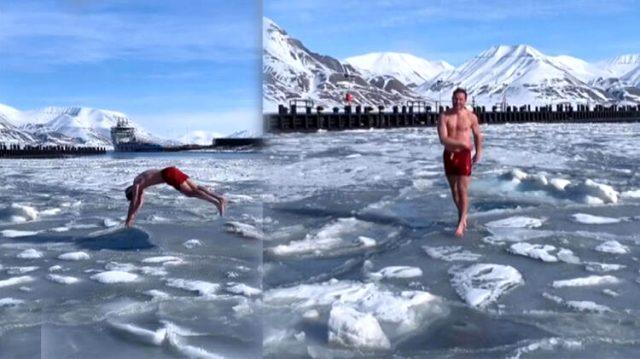 Çılgın Norveçli, Arktik Okyanusu'ndaki buzullara aldırmadan şortuyla yüzüyor