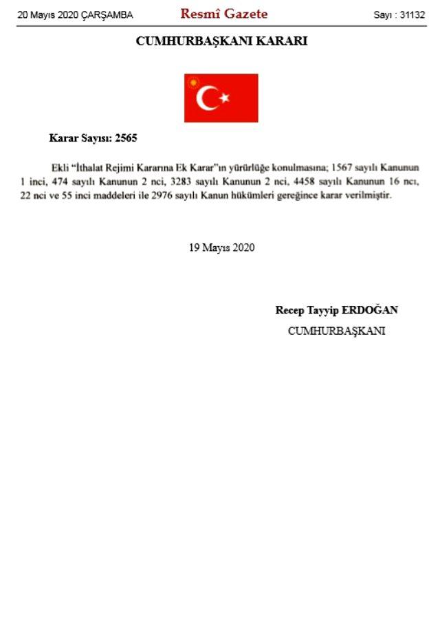 Cumhurbaşkanı Erdoğan'ın imzasıyla 800'den fazla ürüne ilave gümrük vergisi getirildi