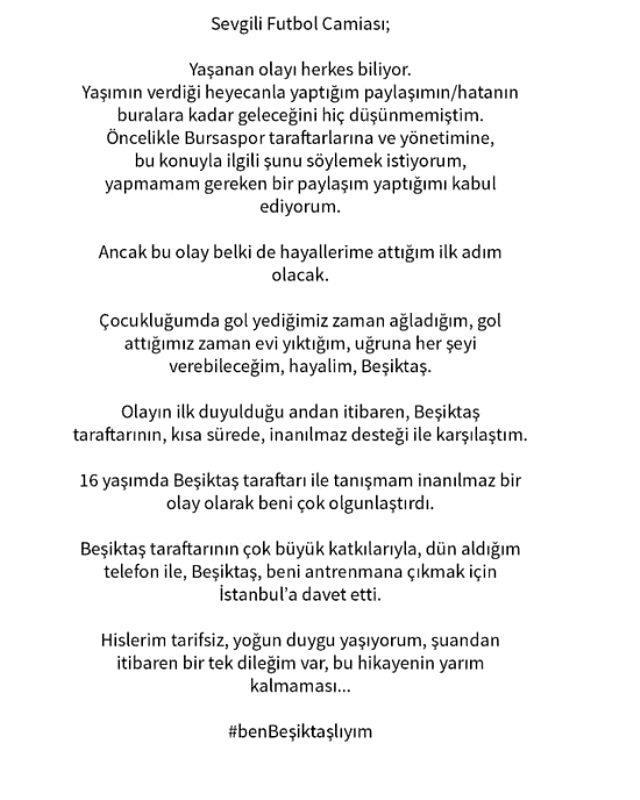 Beşiktaş, yaptığı paylaşım nedeniyle Bursaspor'dan gönderilen Yiğit Şengil'i antrenmana davet etti