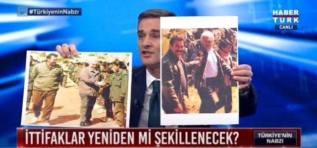 Canlı yayında Perinçek'in gözlerinin içine bakarak Öcalan'la çekilen fotoğraflarını gösterdi