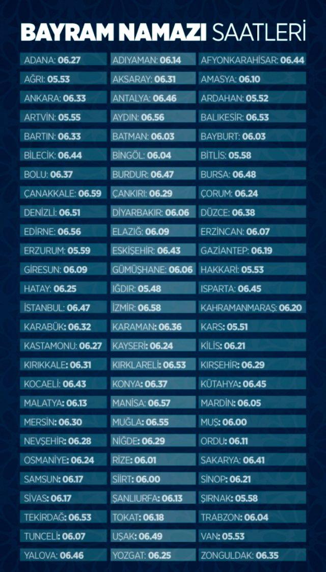 Bayram namazı saat kaçta kılınacak? Tüm şehirler için il il bayram namazı saatleri! 2020 İstanbul, Ankara, İzmir bayram namazı saati