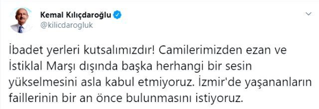 Kılıçdaroğlu'ndan İzmir'de camilerden şarkı dinletilmesine tepki: Asla kabul etmiyoruz
