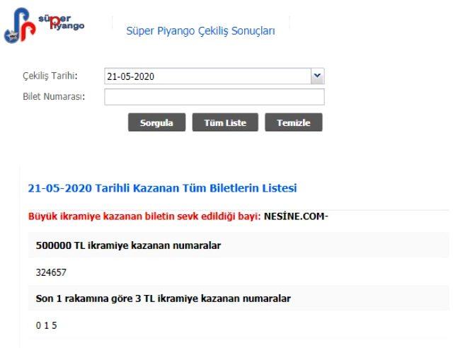 Süper Piyango sonuçları MPİ tarafından açıklandı! 21 Mayıs Perşembe Süper Piyango çekilişi