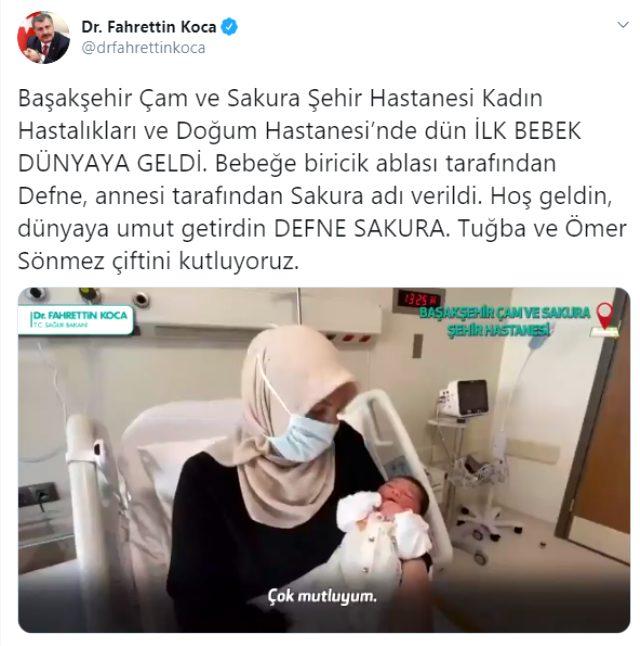Sağlık Bakanı Koca, Çam ve Sakura Hastanesi'nde ilk bebeği doğduğunu duyurdu