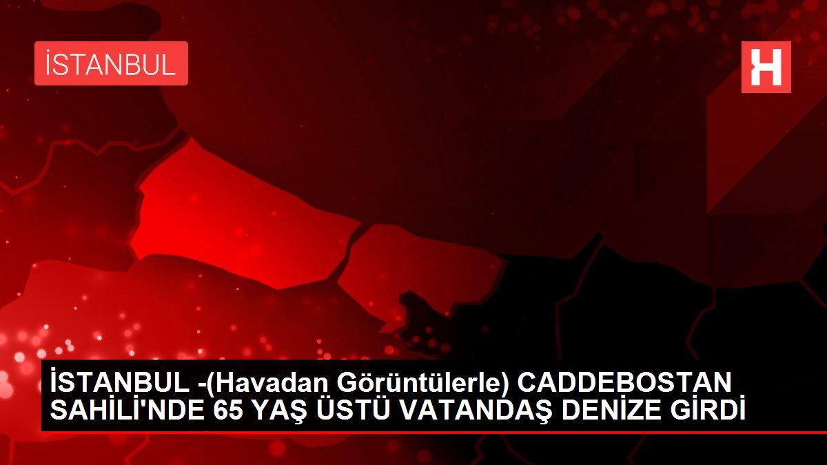 İSTANBUL -(Havadan Görüntülerle) CADDEBOSTAN SAHİLİ'NDE 65 YAŞ ÜSTÜ VATANDAŞ DENİZE GİRDİ