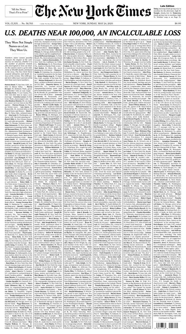 New York Times, 'Onlar birer isimden ibaret değil' diyerek, koronavirüsten ölen 100 bin kişinin ismini paylaştı