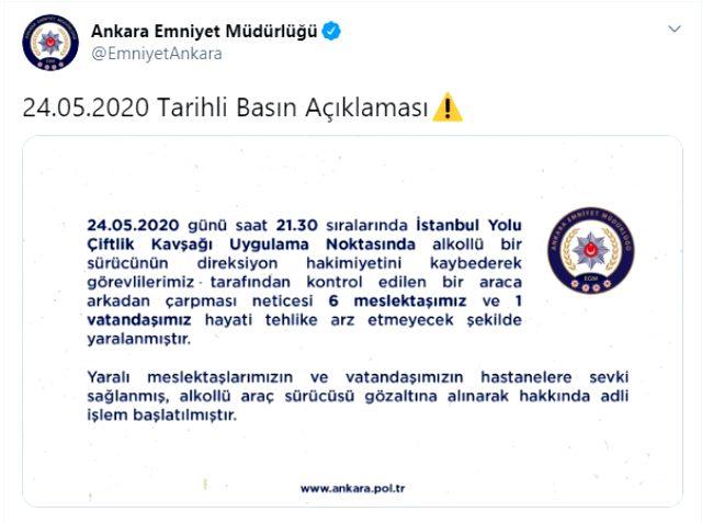 Son Dakika: Ankara'da bir araç polis noktasına daldı: 6 polis yaralı