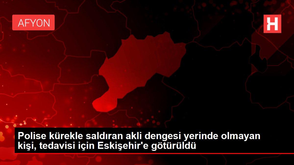 Polise kürekle saldıran akli dengesi yerinde olmayan kişi, tedavisi için Eskişehir'e götürüldü