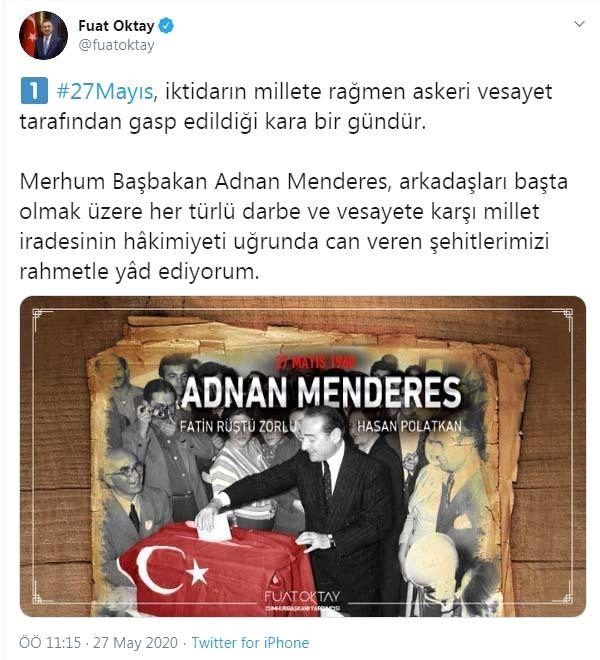 Cumhurbaşkanı Yardımcısı Oktay'dan '27 Mayıs' mesajı