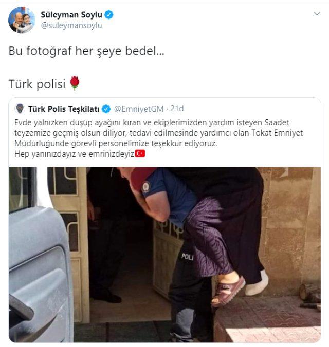 Süleyman Soylu, ayağı kırılan yaşlı kadını sırtında taşıyan polisin fotoğrafını paylaştı