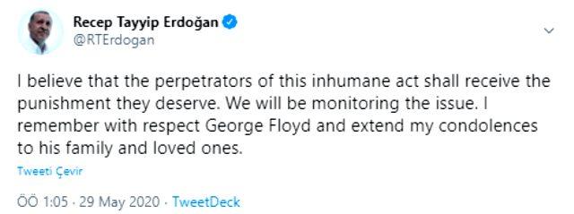 Cumhurbaşkanı Erdoğan, ABD'de polisin boğarak öldürdüğü George Floyd hakkında paylaşım yaptı