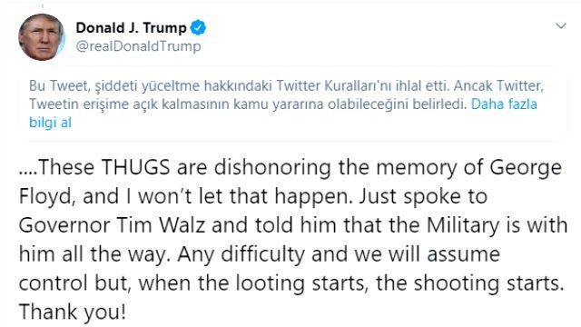 Twitter, ABD Başkanı Donald Trump'ın tweetini şiddeti yücelttiği için gizledi