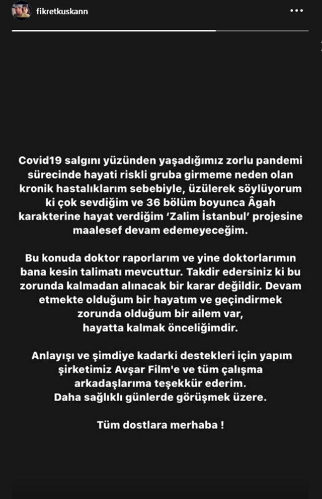 Oyuncu Fikret Kuşkan, sağlık sorunları nedeniyle Zalim İstanbul dizisinde ayrıldı