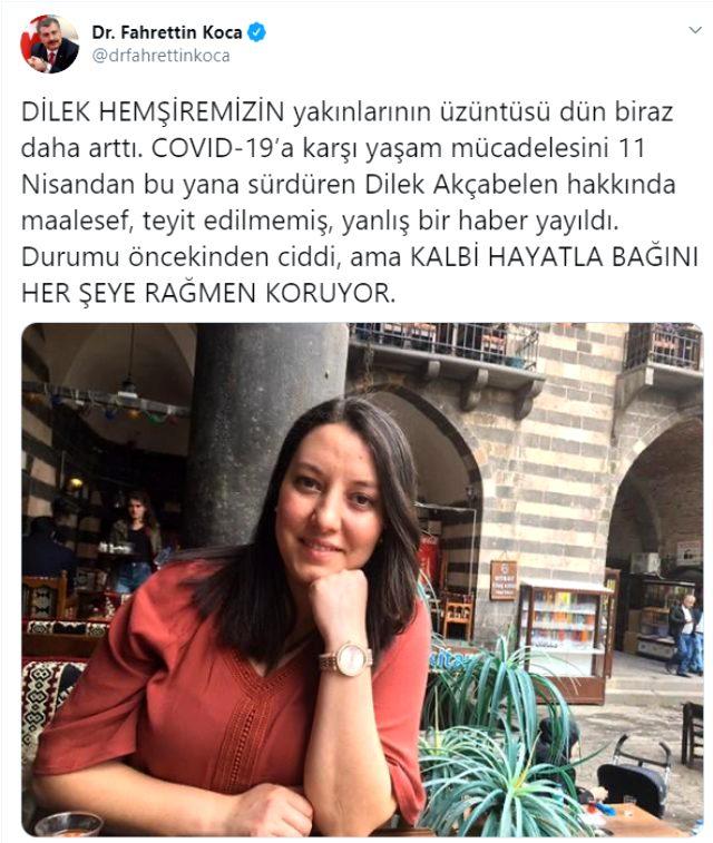 Bakan Koca: 'Dilek hemşirenin kalbi hayatla bağını koruyor'